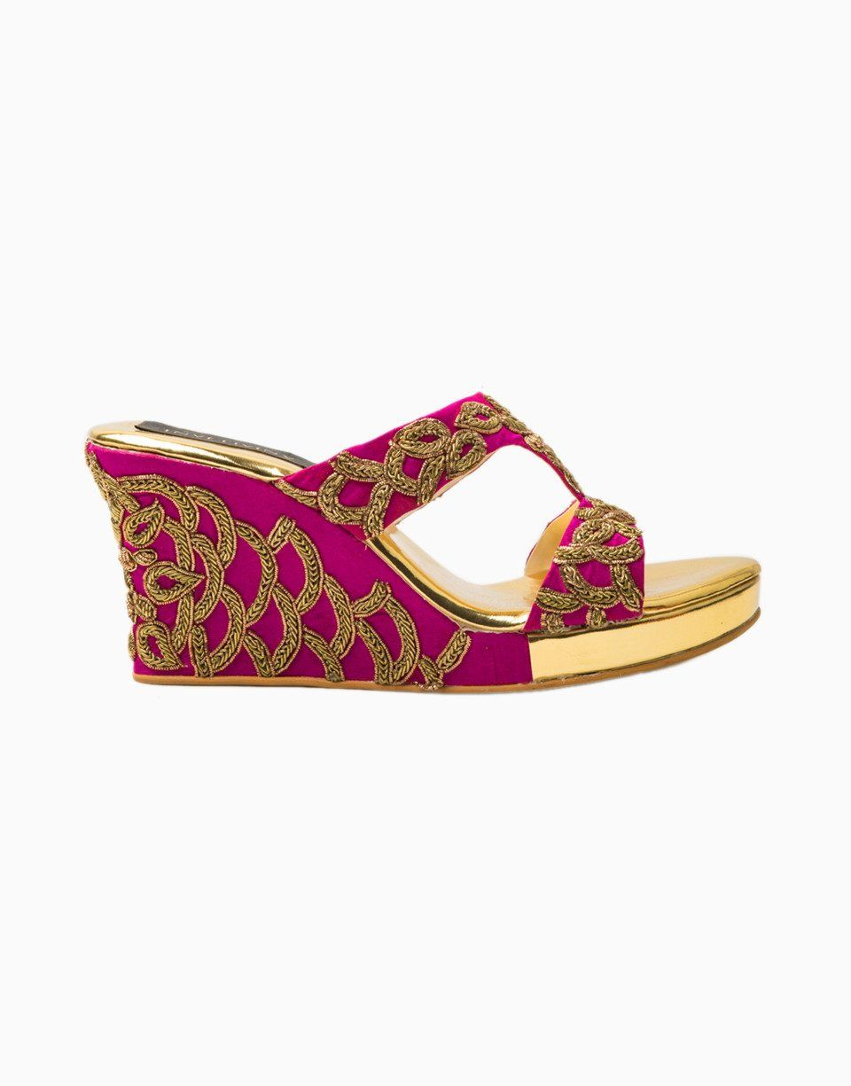 Fuschia Gold Raw Silk Embroidered Cutout Wedges Heel Inches 3 5 Care Wipe With Dry Cloth Avoid Exposure To Water Wedge Sandals Sandals Wedges