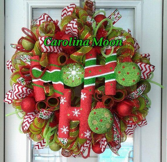 "Ho Ho Ho Christmas Wreath Lime Green Red Stripe Deco Mesh ""Ho Ho Ho "" Christmas Wreath with Ribbon Streamers and Glittered Christmas Balls on Etsy, $55.00"