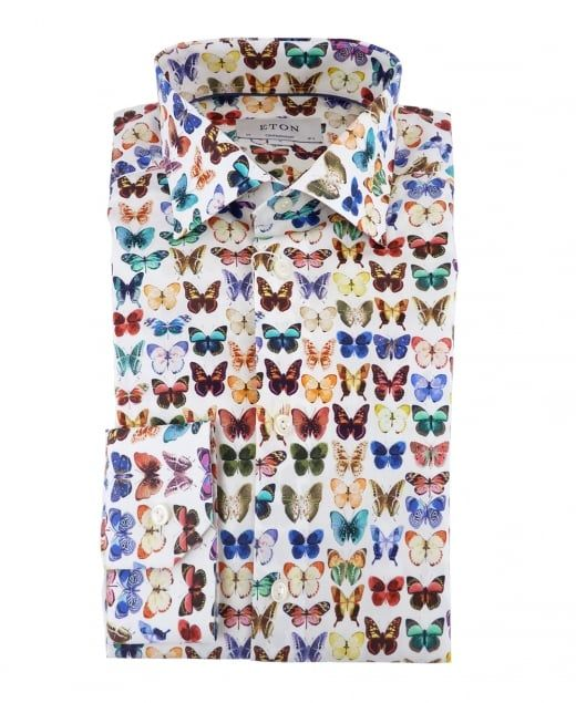 Eton Shirts Poplin Contemporary Fit Shirt With Butterfly Print
