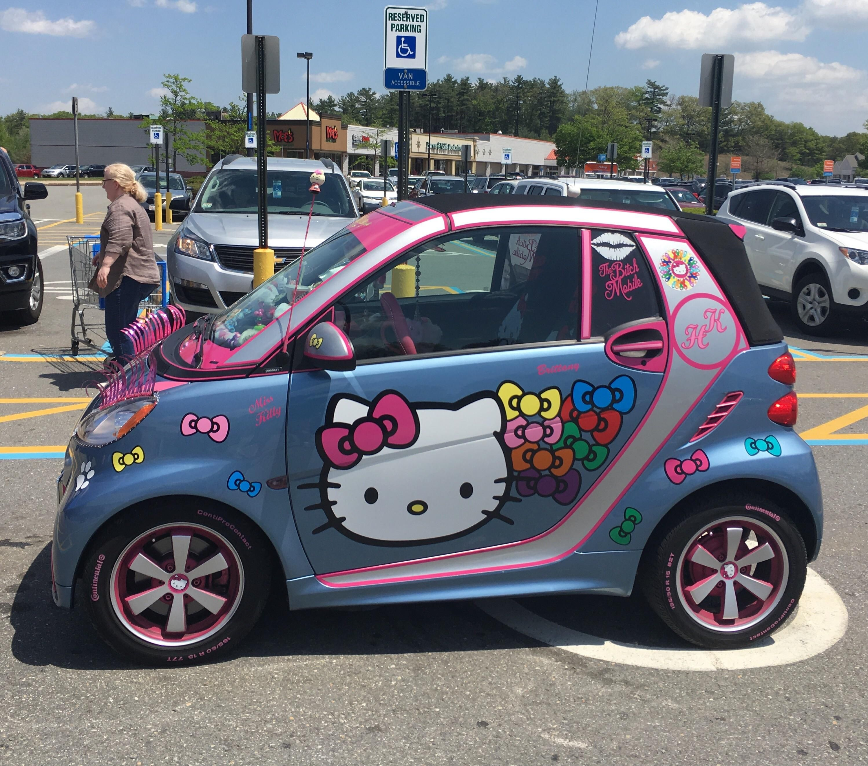This Hello Kitty Smart Car Parked In A Handicap Spot At Walmart Hello Kitty Car Smart Car Hello Kitty