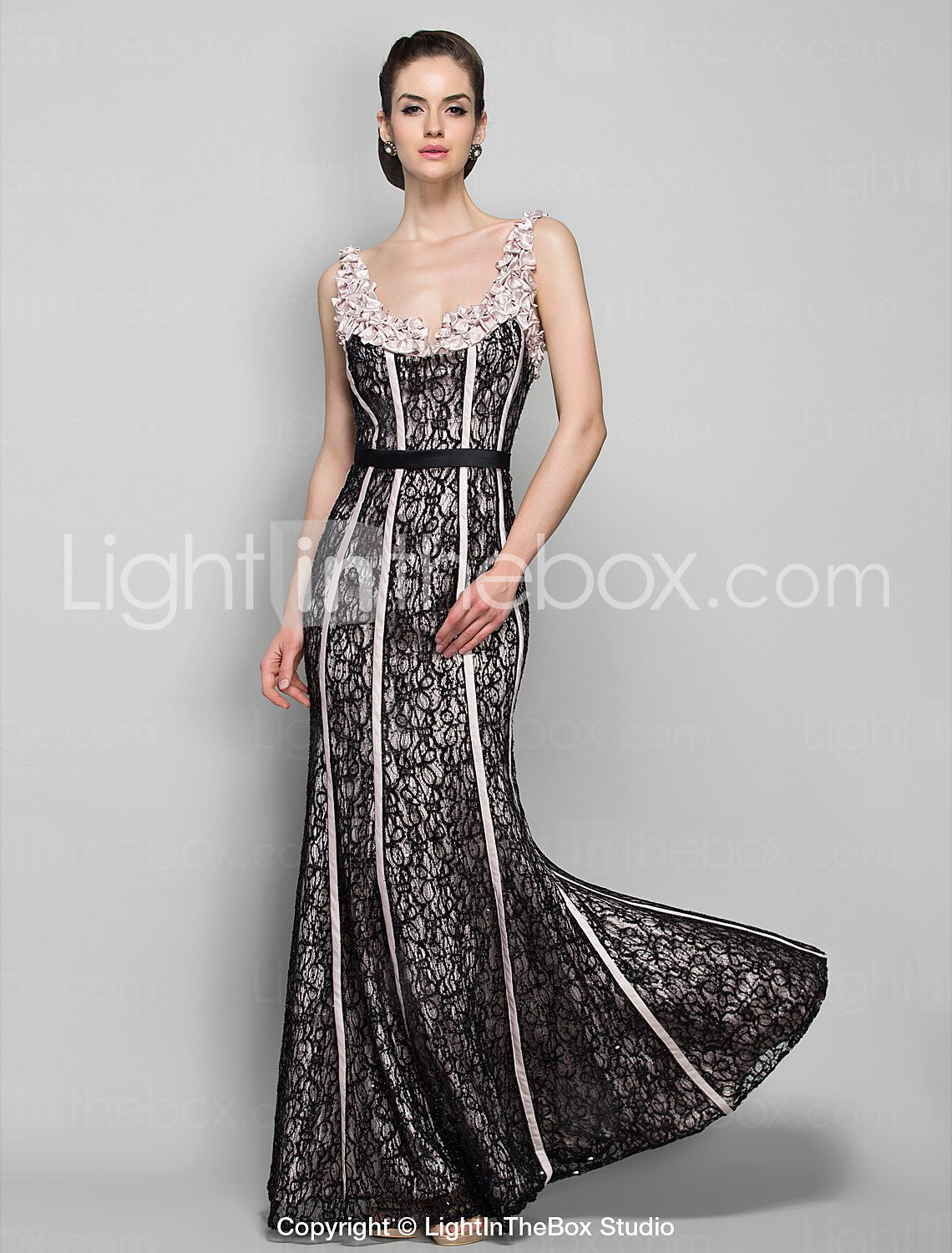 Sheathcolumn straps floorlength stretch satin and lace evening