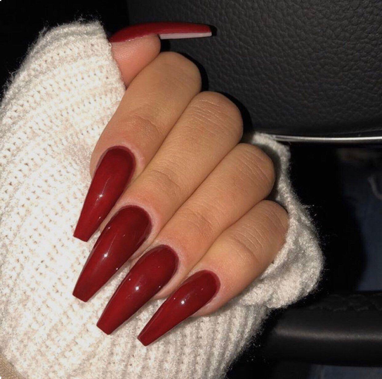 Medium Length Monroe Red Coffin Ballerina Gel Nails T Ballerina Gel Nails Red Gel Nails Red Nails