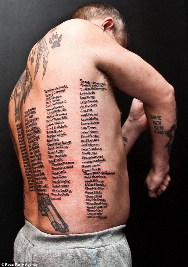 British ExSoldier Tatooed With All  Names Of Fallen Comrades