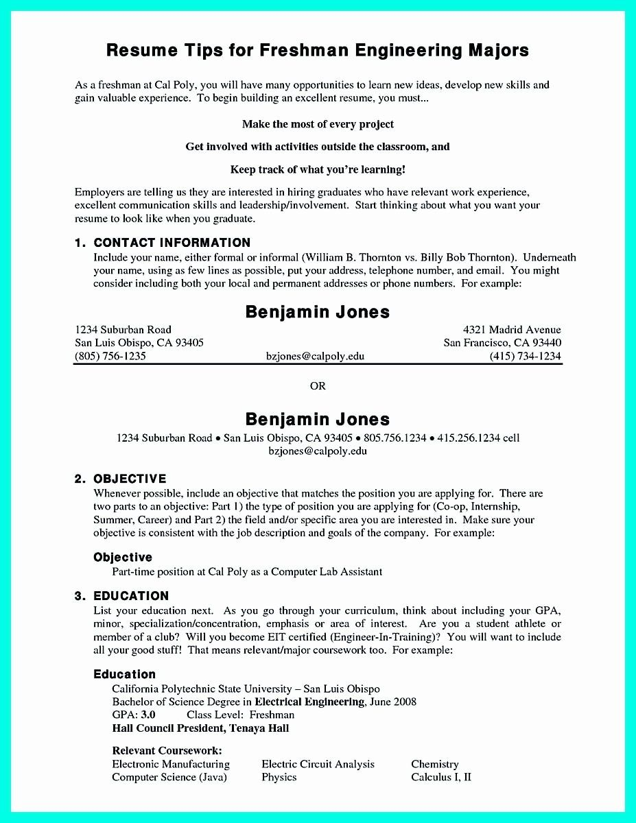 College Freshman Resume Template Elegant Pin On Resume