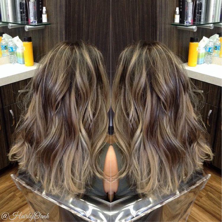 Rooty Beige Blonde Highlights And Chocolate Brown Lowlights On My Girlfriend Yyesdnil Brown Hair With Highlights Brown Hair With Highlights And Lowlights Hair