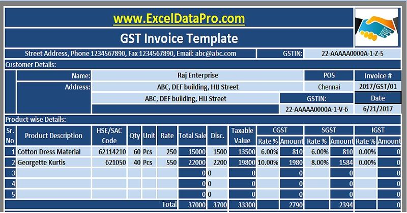 Download GST Invoice Excel Template In Compliance With GST Bill - How to design an invoice in excel