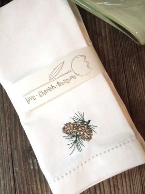 4 winter pine cone embroidered cloth by white tulip embroidery christmas napkins - Christmas Napkins Cloth
