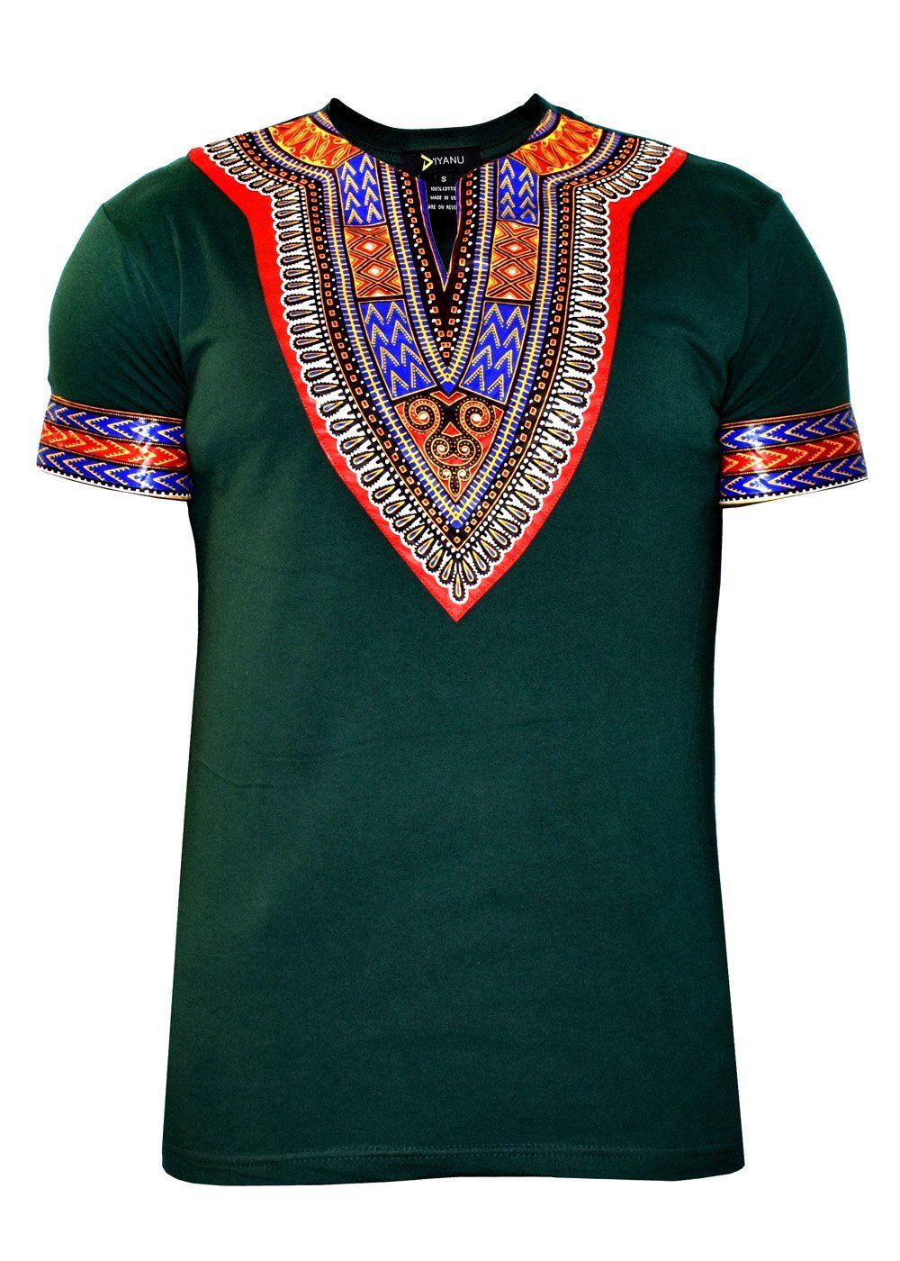 b1e41fc876b2 NEW Men s African Print Dashiki T-Shirt (Green Red Blue)