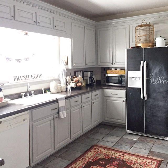Chalkboard refrigerator, Behr paint gray cabinets diy ...