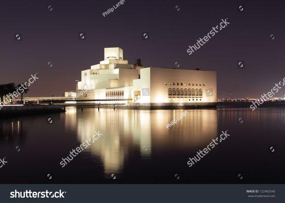 Museum of Islamic Art in Doha illuminated at night. Qatar, Middle East #Ad , #Ad, #Art#Doha#Museum#Islamic