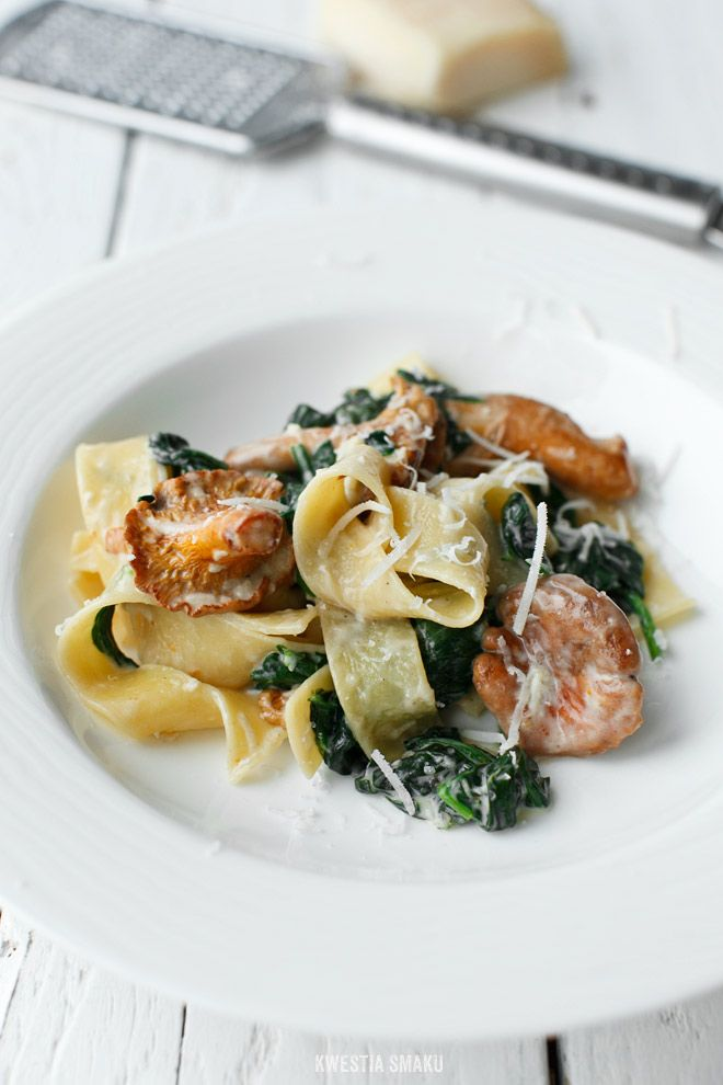 Pappardelle with Chanterelles, Spinach and Walnuts
