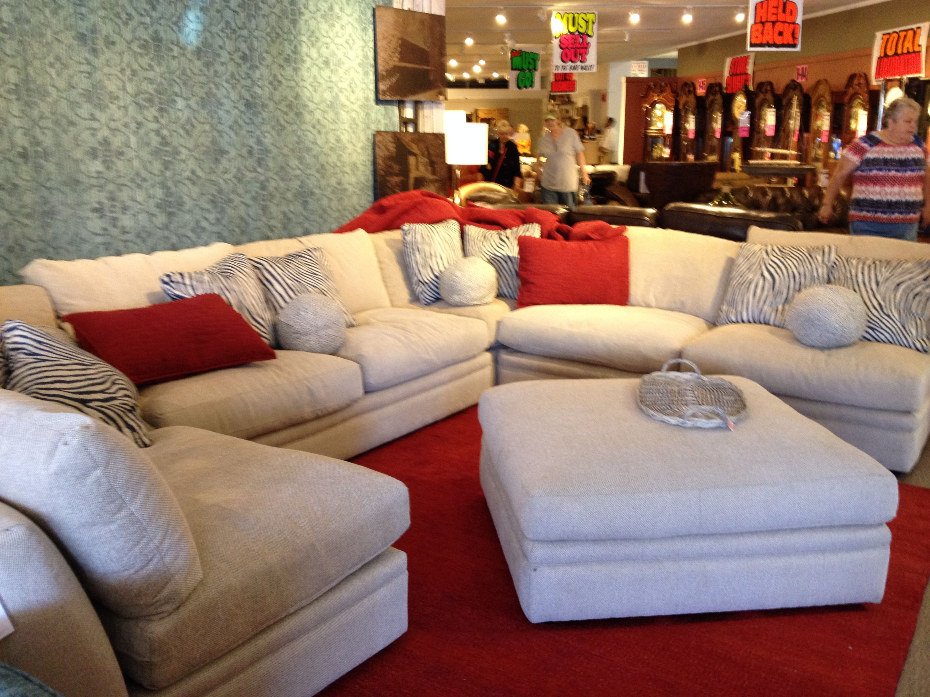 Phillips Furniture Neutral Sectional Linen White Cream