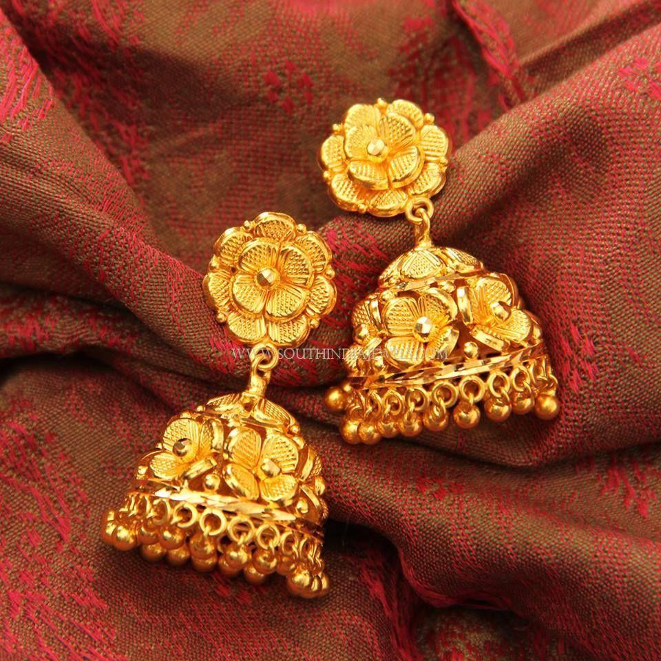 Gold Floral Jhumka Designs, Simple Gold Jhumka Design, Plain Gold ...