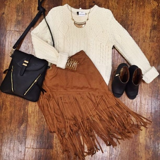 Pin-spiration anyone? This cropped sweater and suede skirt are a match made in Pinterest heaven  Sweater $59 // Item 1009BM1 Skirt $42 // Item 1009BM2