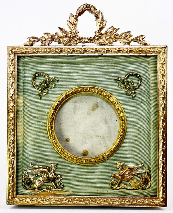 Antique French Dore Bronze Photo or Miniature Portrait Frame, Sphynx ...