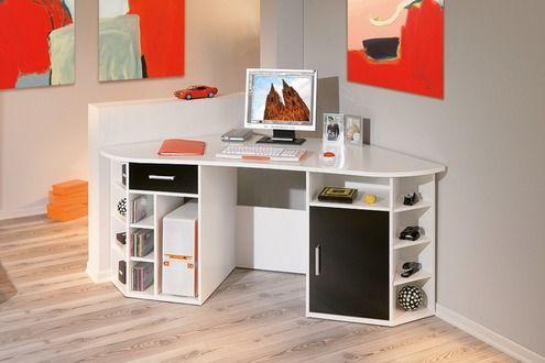Bureau d´angle meuble informatique console avec rangements et