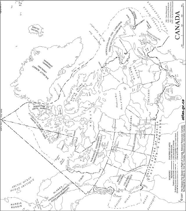 an outline map showing the coastline boundaries and major lakes and rivers for canada and