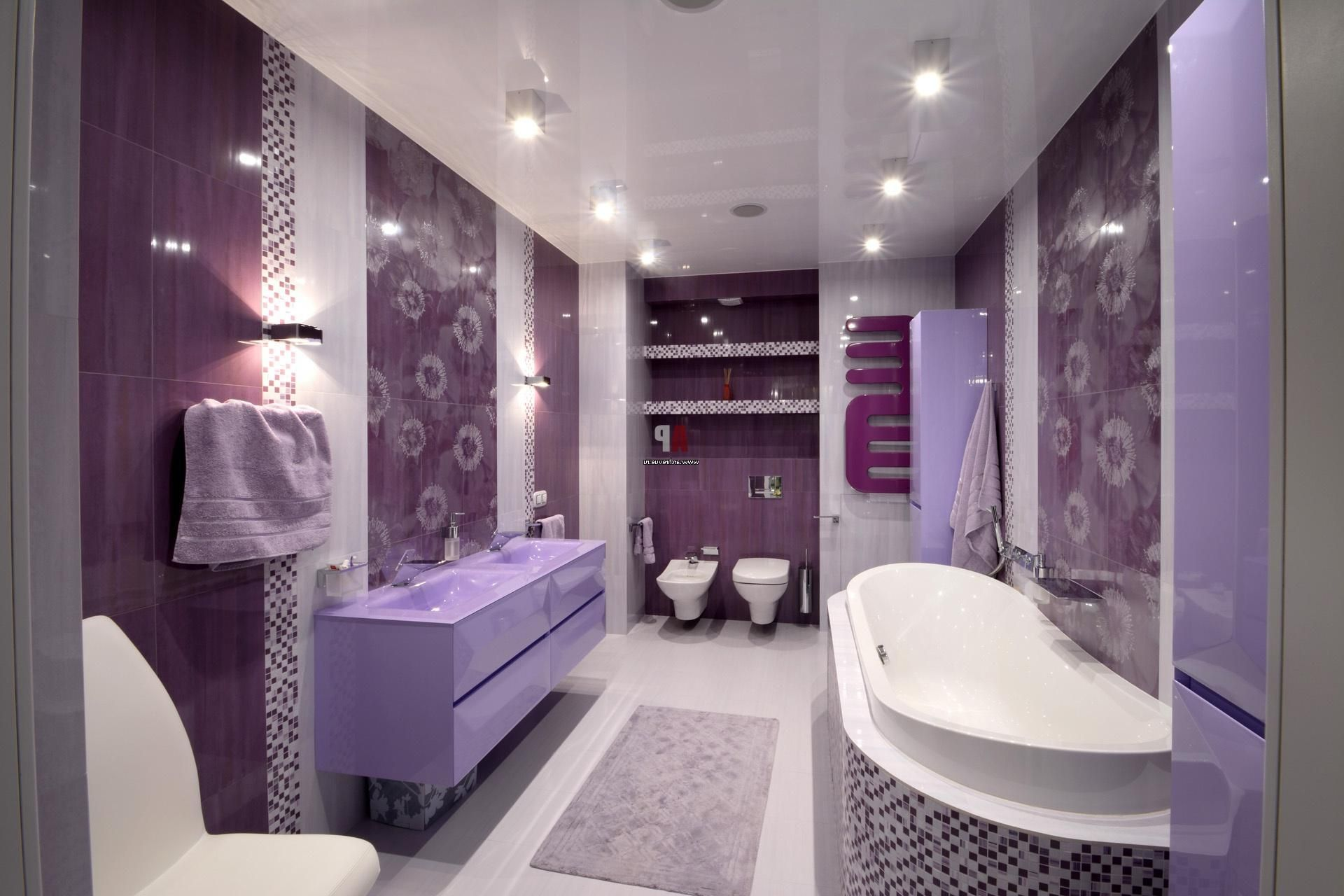 royal purple women bathroom designs with LED lighting