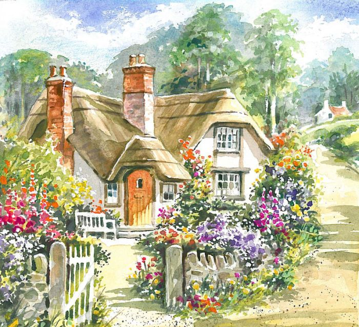Jim mitchell cottage art pinterest for Watercolor cottages