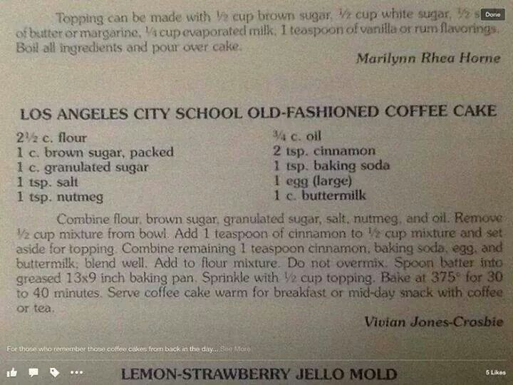 Lausd Coffee Cake Coffee Cake School Lunch Recipes Coffee Cake Recipes