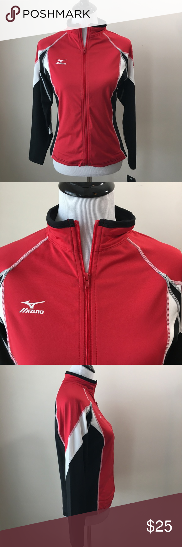 Nwt Mizuno Volleyball Red Black Zip Up Jacket Sz S Black Zip Ups Black And Red Jackets