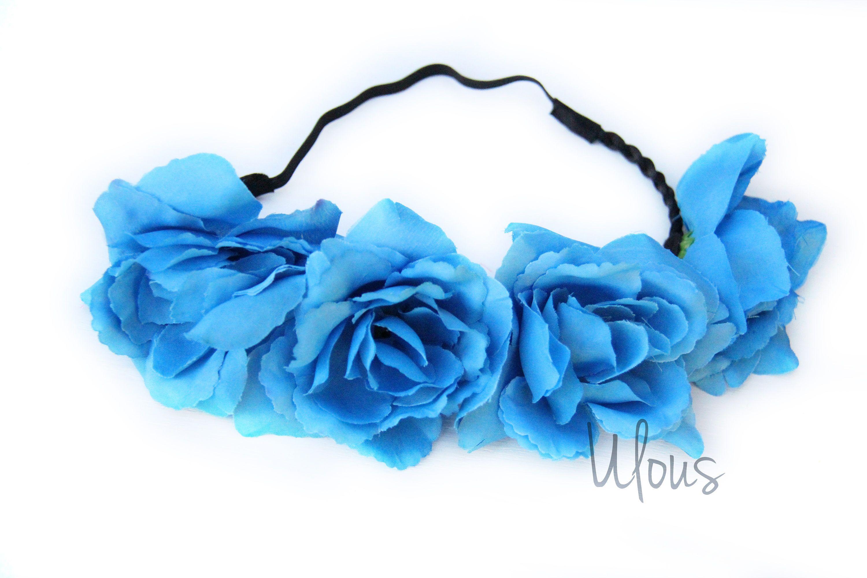 Blue Flower Crown Flower Crown Flower Headband Coachella Wedding