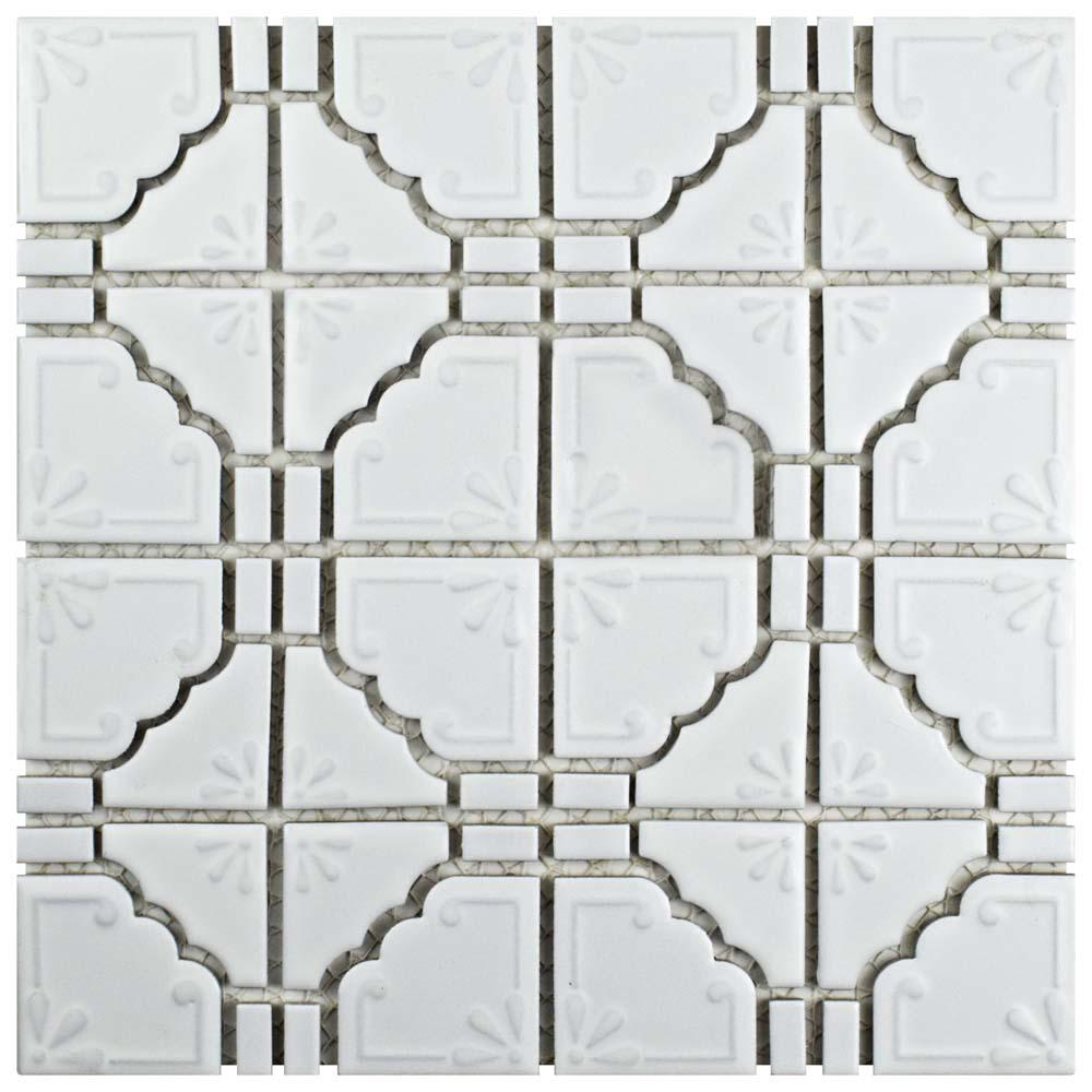 Merola Tile Moonbeam Matte White 11 3 4 In X 11 3 4 In X 7 Mm Porcelain Mosaic Tile Fkomb10 Mosaic Tiles Porcelain Mosaic Mosaic Flooring
