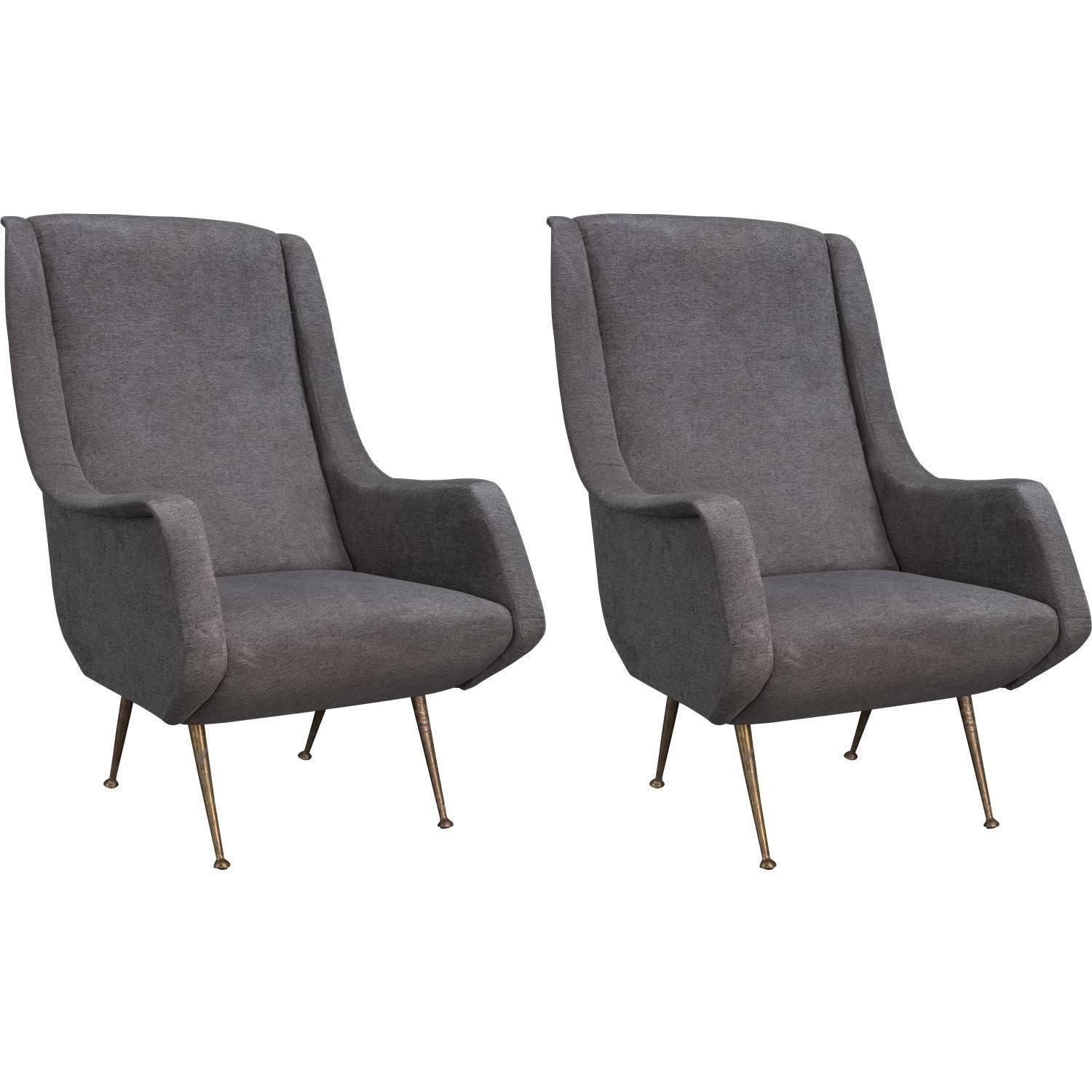 grey modern armchairs dining chairs with nailheads velvet and brass circa 1960 mcm design from a unique collection of antique at