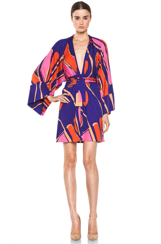 Issa silk printed kimono in indigo multi forward by elyse walker