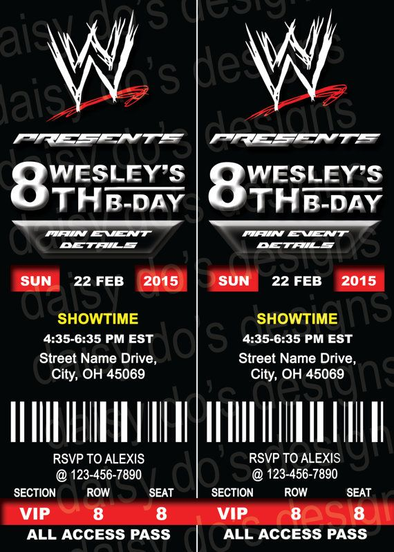 Wrestling Birthday Party Invitations | Wwe Ticket Stub Party Invitation Digital By Daisydosdesigns
