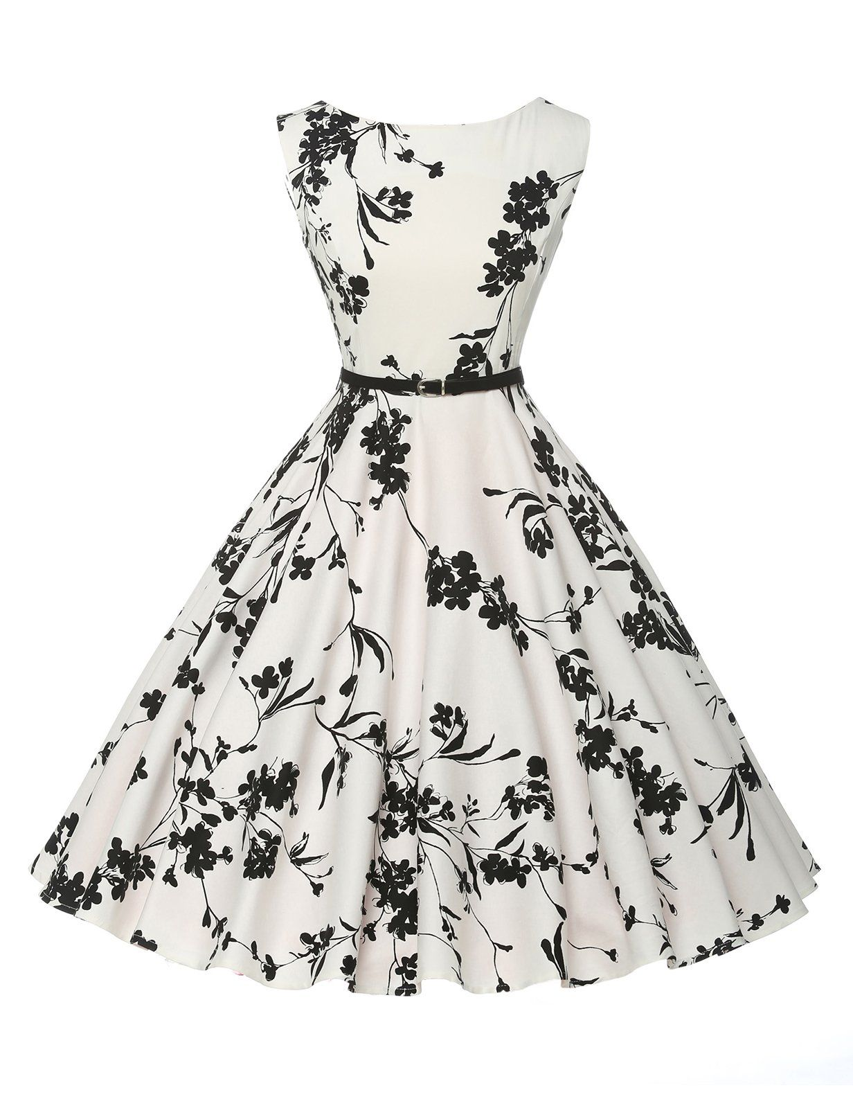 Charmian Elegant Vintage Floral Print Sleeveless Round Neck Casual Party  Swing Dress with Black Narrow Waist Belt