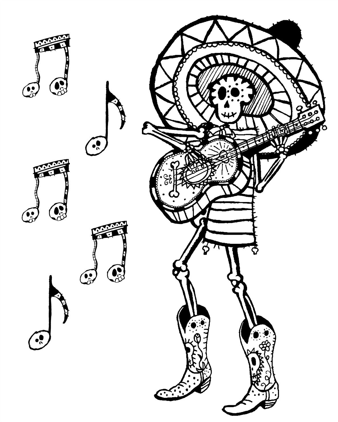 Free Printable Day Of The Dead Skeleton Musician Coloring Page Dayofthedead Diadelosmuertos Freep Coloring Pages Vintage Witch Art Halloween Printables Free