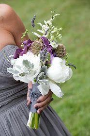 Yaddo Gardens Wedding Bouquet  - peonies, scabiosa pods, callas, dusty miller, astilbe, larkspur, lavender