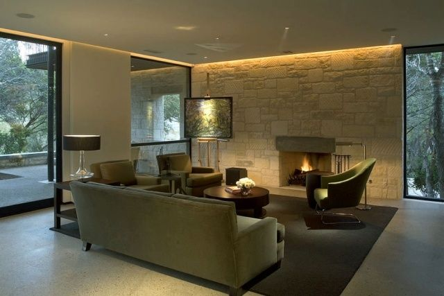 indirekte led beleuchtung wohnzimmer kaminofen steinwand - wohnzimmer ideen kamin