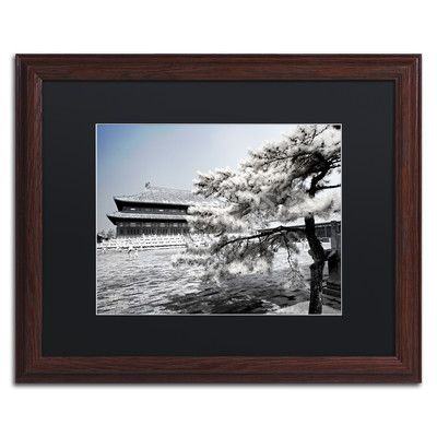 """Trademark Art """"White Plaza"""" by Philippe Hugonnard Framed Photographic Print Size: 11"""" H x 14"""" W x 0.5"""" D, Matte Color: Black"""
