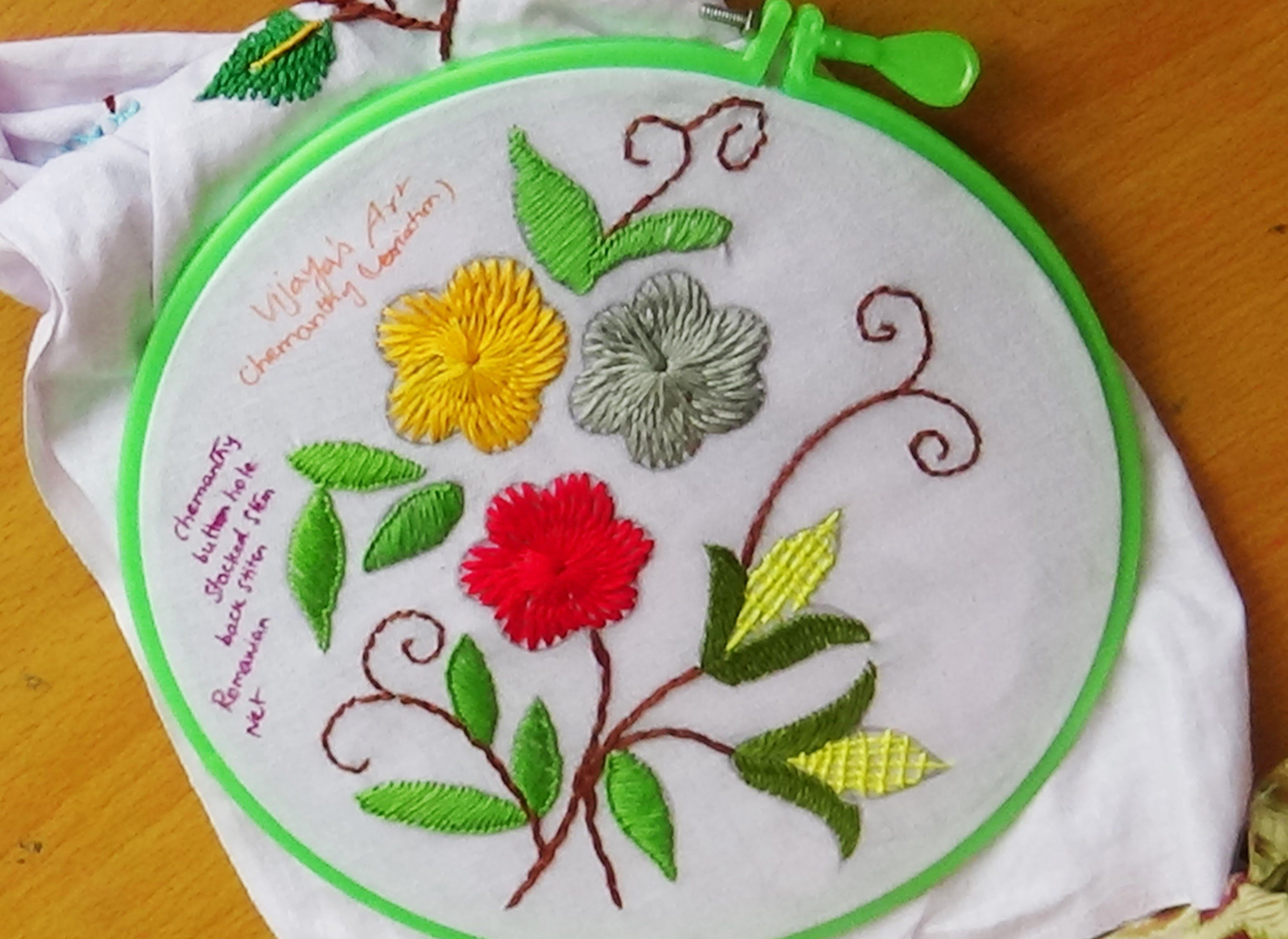 Hand Embroidery Designs 129 Chemanthy Flower Variation