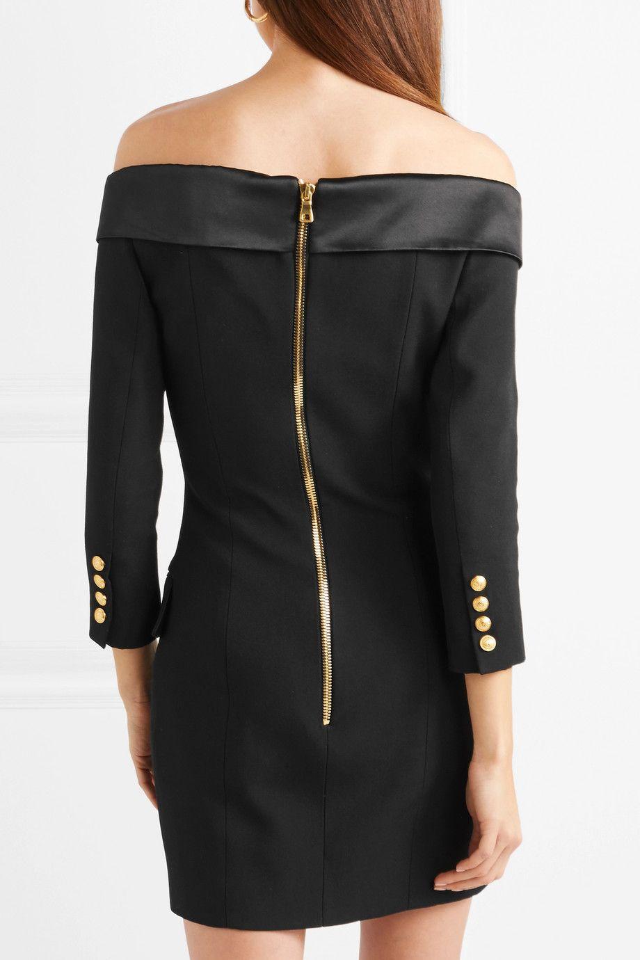 Off-the-shoulder Double-breasted Wool Mini Dress - Black Balmain Iuc0O