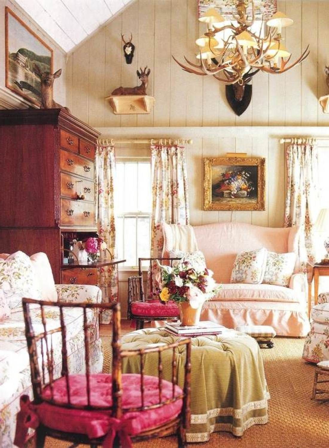 Pink French Country Living Room
