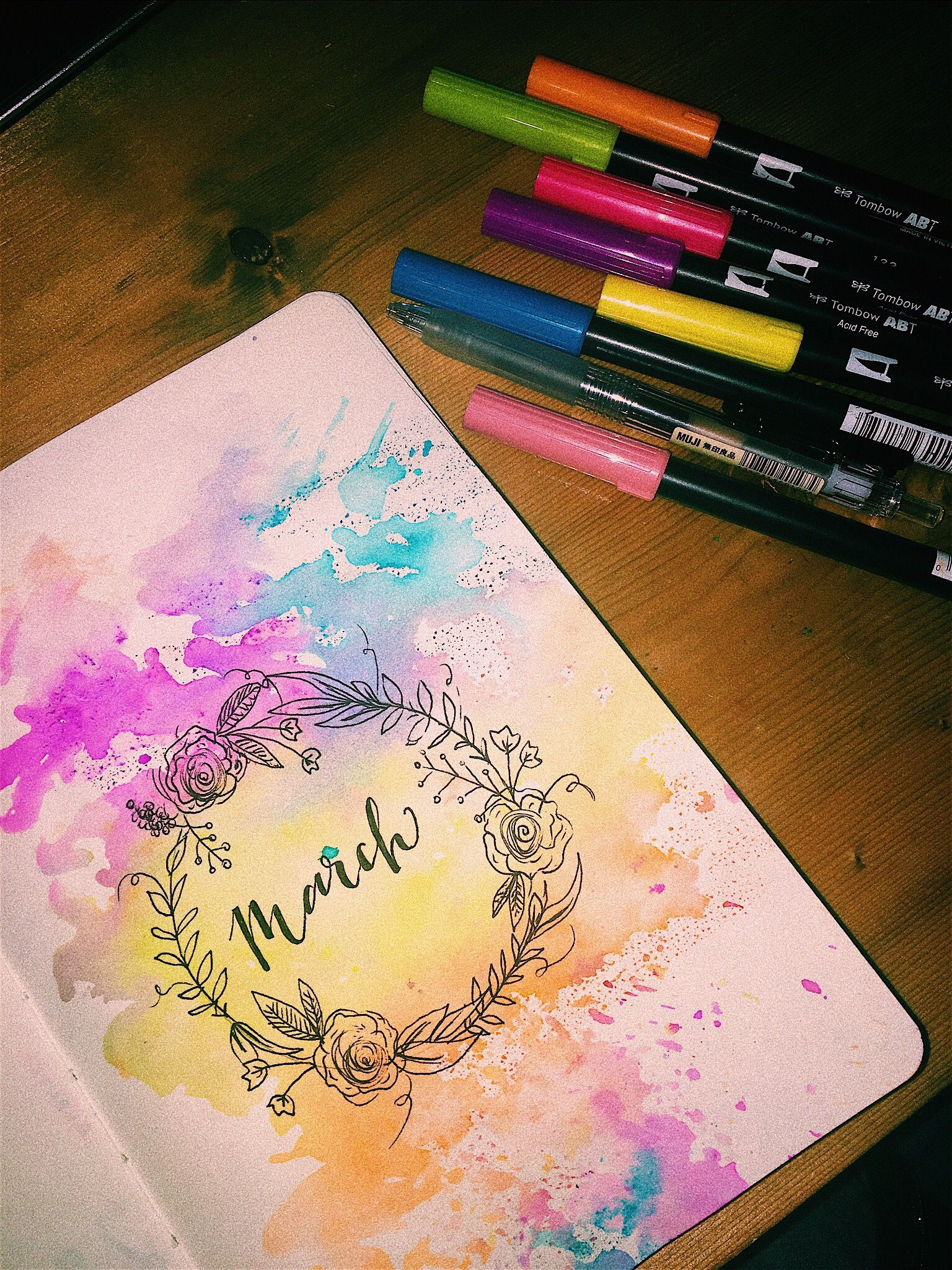 March Cover Page In Bullet Journal With Watercolor And Doodles