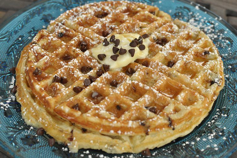 Buttermilk chocolate chip waffles with images