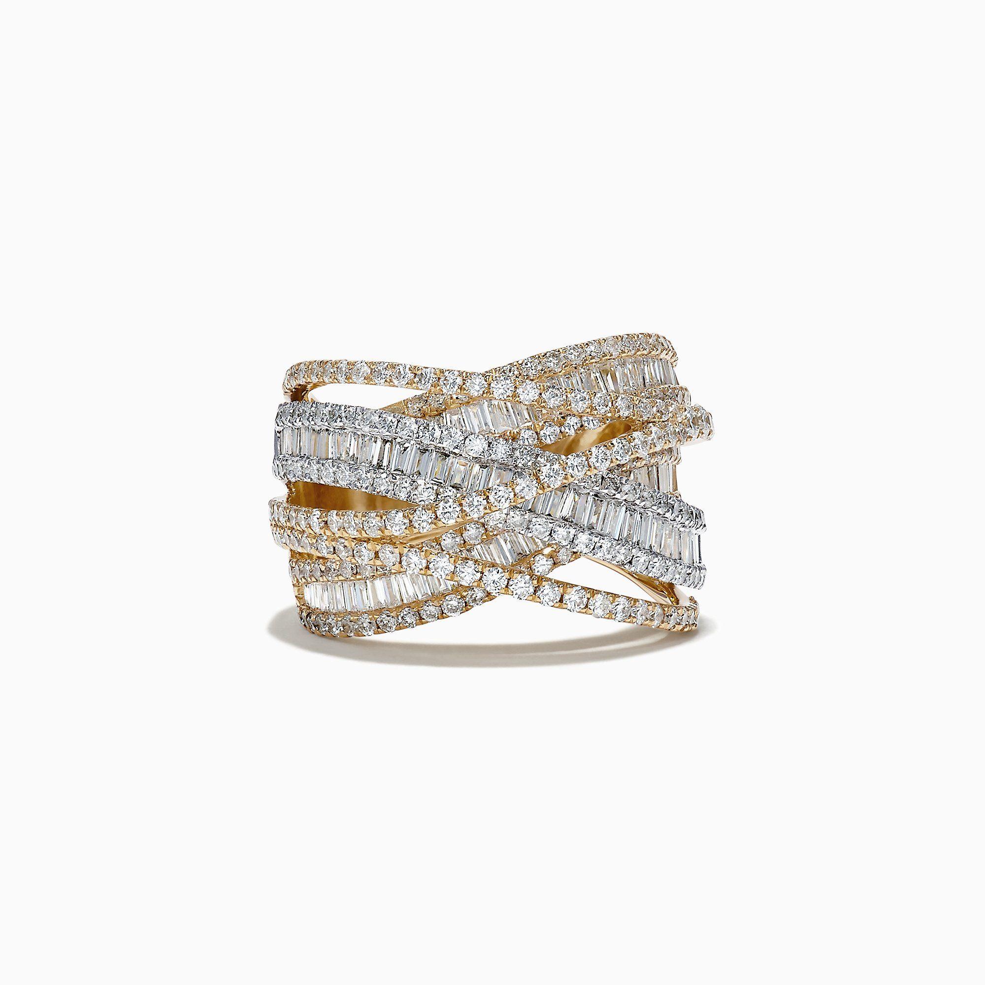 Effy Duo 14k White And Yellow Gold Diamond Crossover Ring 2 75 Tcw In 2020 Crossover Diamond Ring Yellow Gold Diamond Ring Crossover Ring