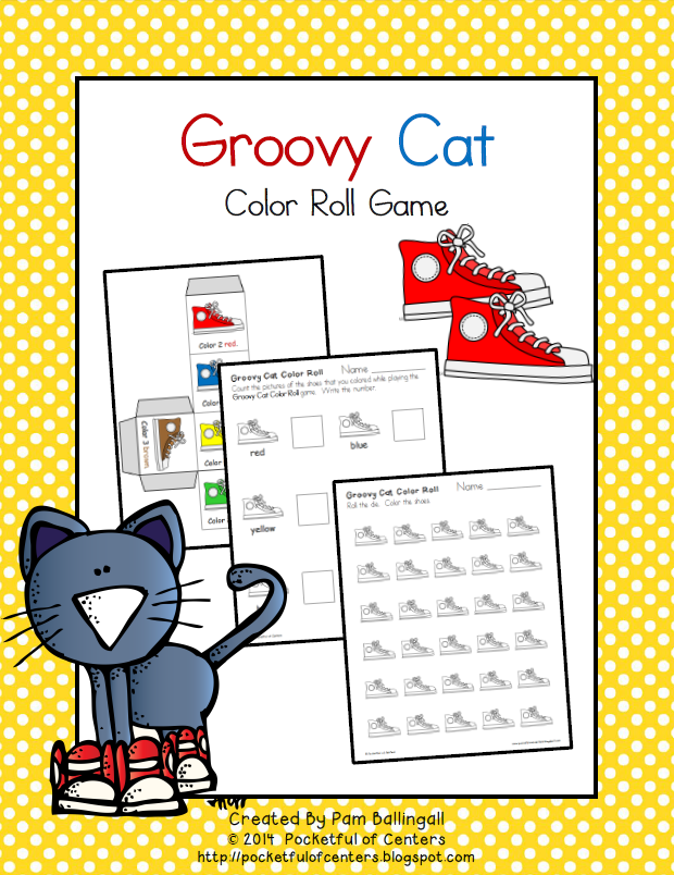 Groovy Cat Color Roll Game | Pocketful of Centers Blog | Pinterest