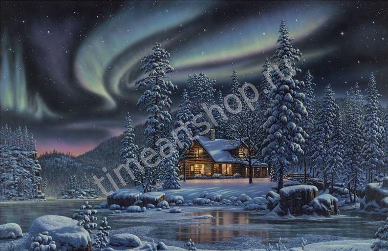 Чудеса зимней ночи, картина-раскраска по номерам на холсте ...