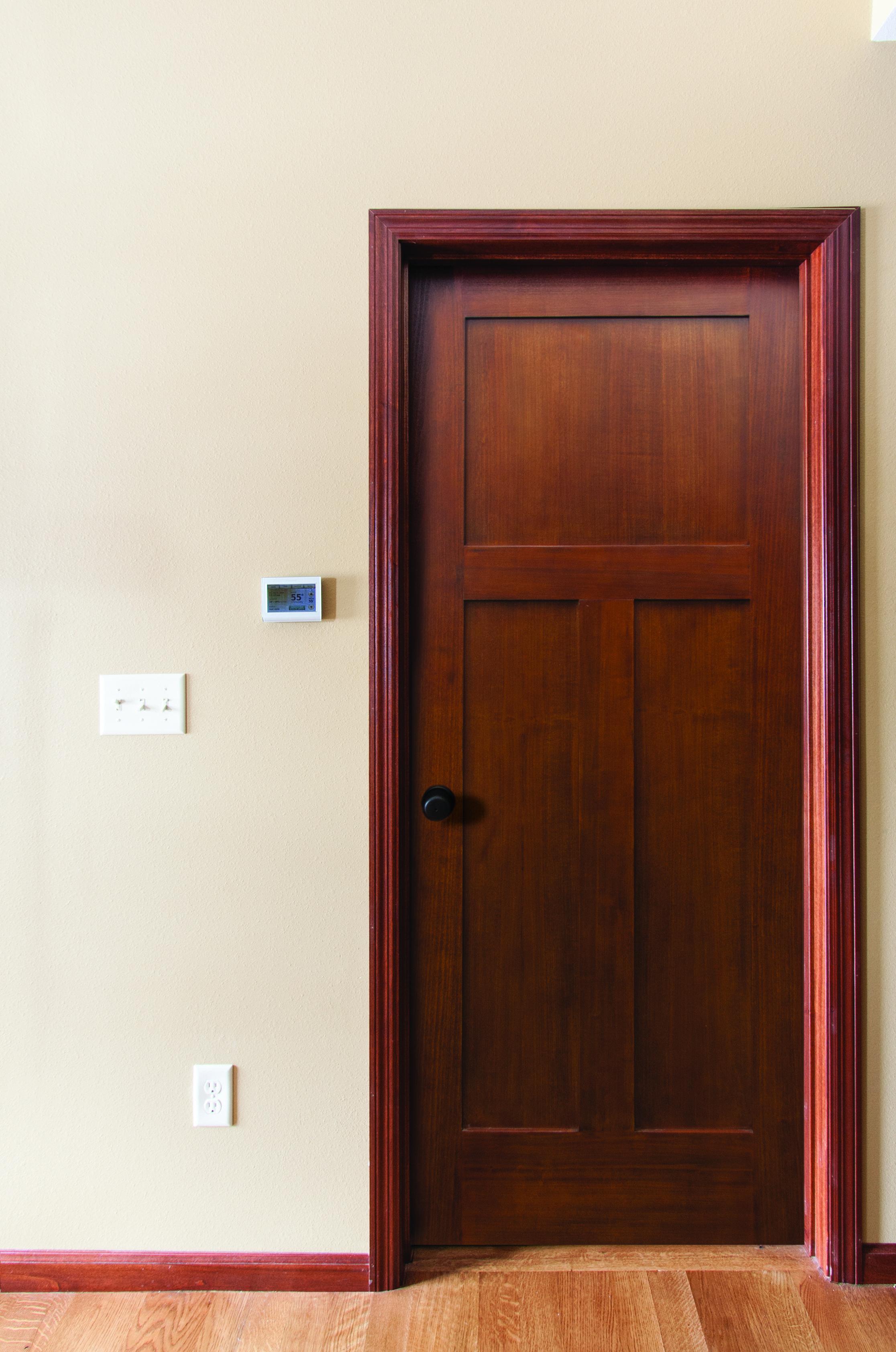 The Poplar 3 Panel Mission Door Prefinished In Gunstock Will Save You Work And Look Beautiful Sliding Doors Interior Doors Interior Craftsman House