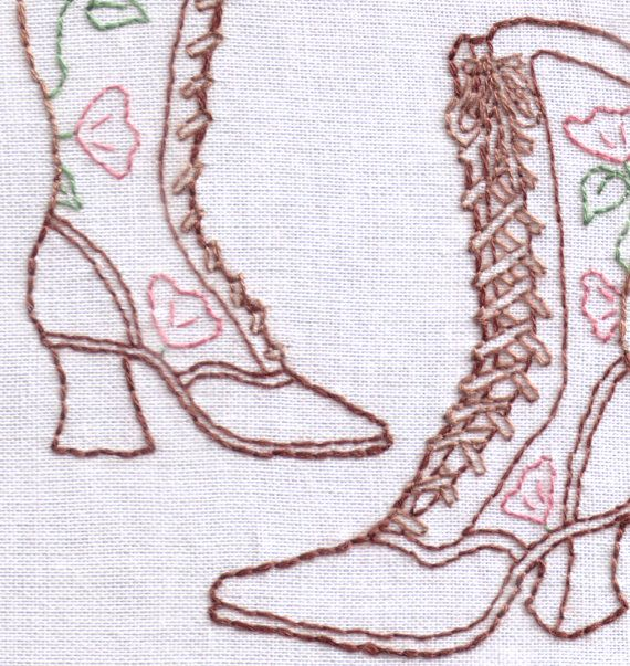 Boots Hand Embroidery Pattern, Victorian Boots, Shoes, Steampunk ...