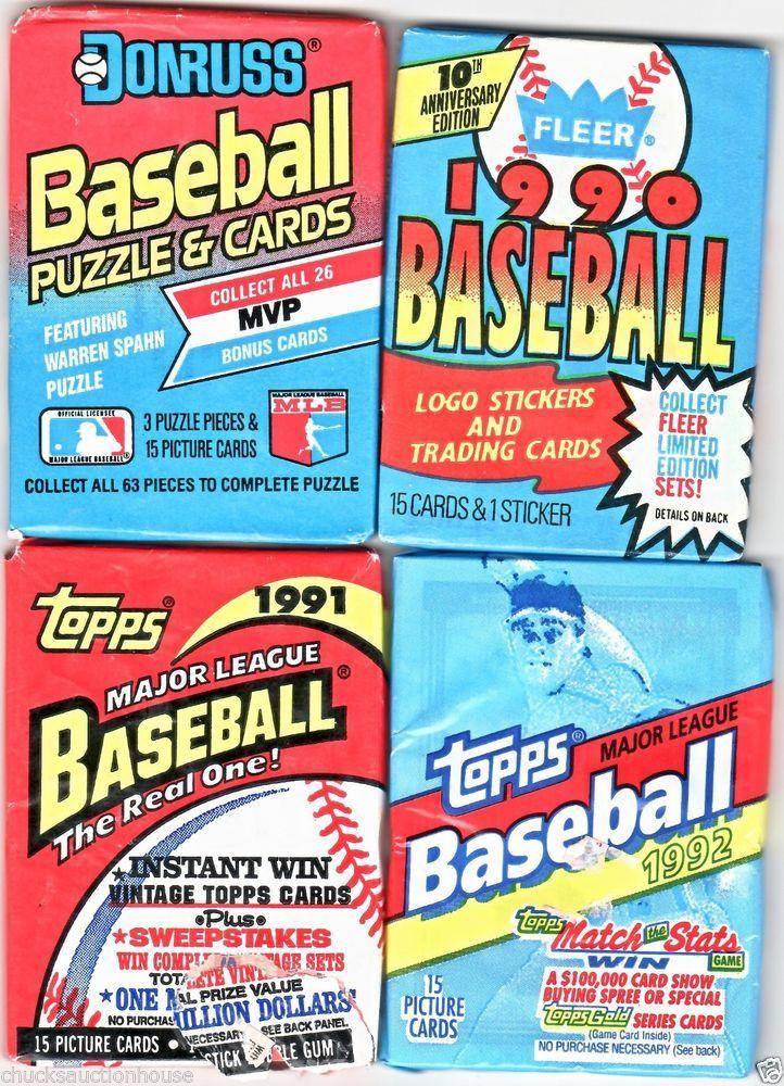 1989199019911992 baseball unopened 4 packs total 60