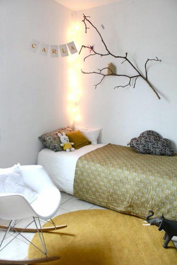 AuBergewohnlich 30 Ideen Für Kinderzimmergestaltung   Ideen Für Kinderzimmergestaltung  Beleuchtung Zweige Wand