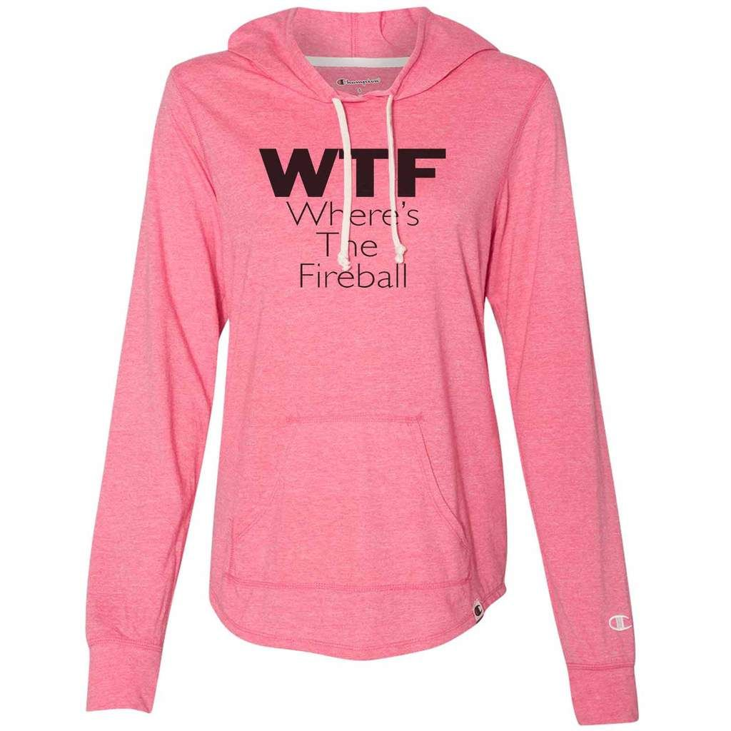 a5ffbc00a22e Champion Hooded Sweatshirt. Where is the fireball WTF Champion Hoodie  Womens Sizing. Offering in pink