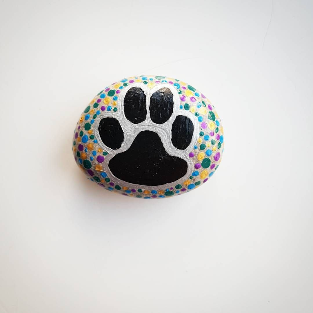 cute pawprint painted stone