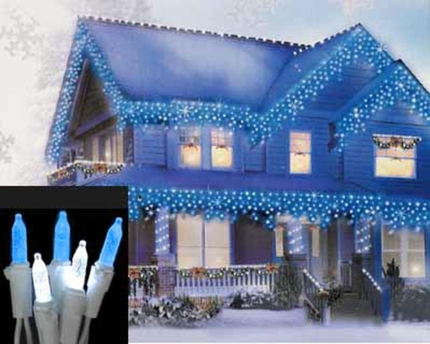 Set of 70 Blue and Pure White LED M5 Icicle Christmas ...